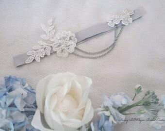 Wedding Garter, Luxury Silver Bridal garter with chains, lace garter- Paris