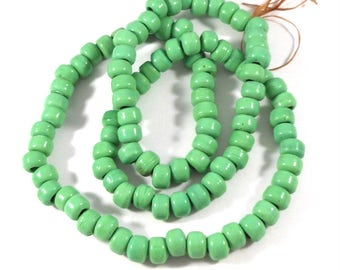 Light Green Glass Crow Beads, Pony Beads, 26 Inch Strand, 7 x 9 Large Hole, Leather Crafts, Macrame Beads, Craft Beading, Dream Catcher Bead