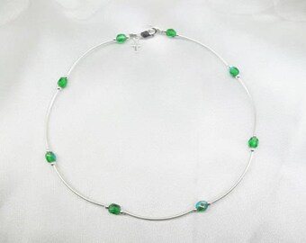 Green Anklet Emerald Anklet AB Crystal Ankle Bracelet Silver Cross Anklet 925 Sterling Silver Anklet Cross Jewelry BuyAny3+Get1 Free
