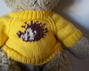 Teddy Bear Sweater - Hand knitted - Yellow with Hedgehog motif - fits Build a Bear