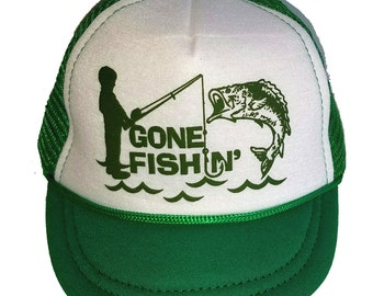 Gone Fishin' Fishing  Green Baby Sized Mesh Trucker Hat Cap Newborn