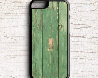 Rustic Cell Phone Case, Green Wood Grain Photograph -  iPhone or Samsung Galaxy