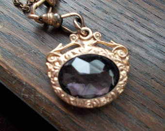 victorian gold filled watch fob with grayish/purple stone