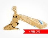 Dragonfly articulated paper doll free handmade greeting card whimsical puppet girlfriend gift creative birthday present woodland beauty