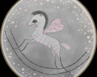 Alice in wonderland rocking horse fly lowbrow fantasy art