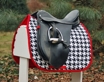 MADE TO ORDER - Large Black and White Houndstooth Saddle Pad