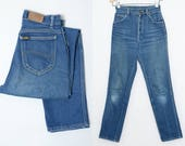 70s Lee Riders Blue Denim High Waisted Western Jeans 28 x 31