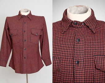 1930s Chin Strap Work Shirt Red and Black Houndstooth Plaid Wool Button Down Workwear Shirt