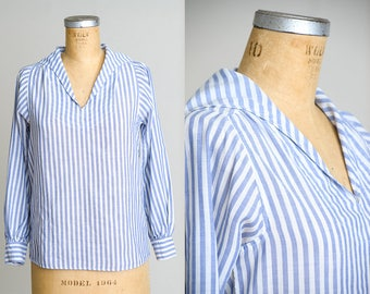 Vintage Nautical Striped Blue and White Bibbed Sailor Shirt