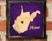 Antique Finish West Virginia Home! Heart Vintage Style Plaque Sign Decorative & Custom Color Wall Home Decor Art Gift
