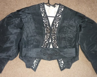 Antique Victorian  SILK TAFFETA Bodice / Jacket...Excellent Condition....Victorian Mourning