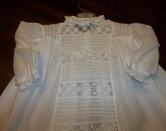 Antique Victorian Baby Christening Dress.. Hand Made..Pintucks..French Lace..Good Condition