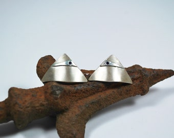 Post Earrings - Modern Sterling Silver Post Earrings - Sapphire Post Earrings