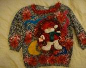 fast shipping woman's medium snowman ugly christmas sweater deb's red tacky winner pretty fun