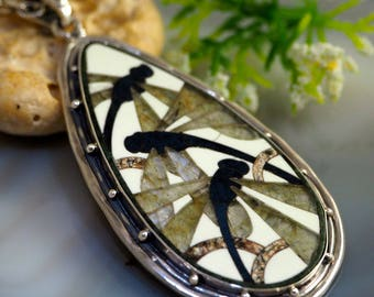 Pietra Dura Pendant Stone Mosaic Dragonflies Statement Necklace Sterling Silver Jewelry