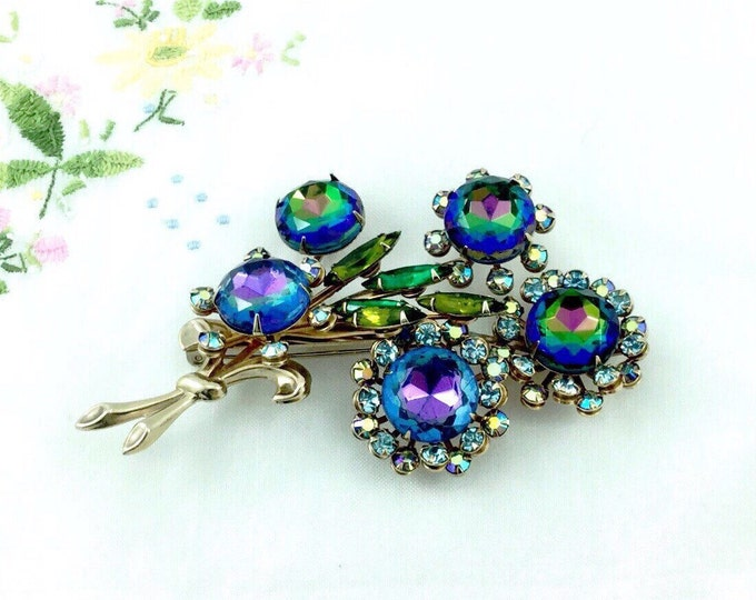 Brilliantly amazing blue rhinestone brooch with Vintage Blue Heliotrope Cabochons. Austrian Rhinestone Brooches, spray sparkly unique brooch
