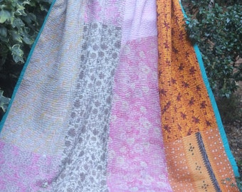 Pastel colours vintage kantha quilt, Kantha throw, Sari blanket, Vintage kantha quilt, Yellow Sari throw, Kantha blanket,Boho throw