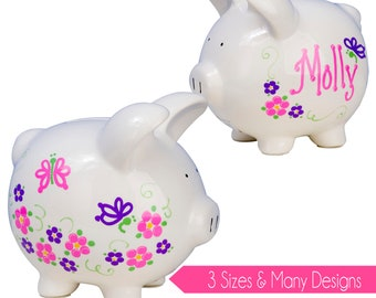Girl's Personalized Piggy Bank Hand Painted Ceramic Custom Banks for Her Baby Flower Girl pink purple nursery piggybank shower Gift PIGG-whi