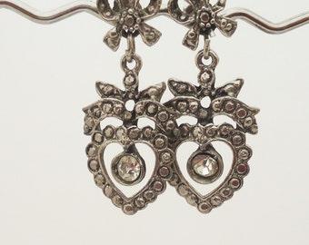 Marcasite Earrings, Heart Marcasite Earrings, Long Marcasite Earrings, Bow Earrings, Vintage Marcasite Earrings