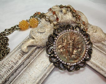 GODDESS  Assemblage Necklace - Golden Goddess Medallion -AURORA with HORSES -Beautiful Upcycled Jewelry - Rhinestones - Beads - Antique gold