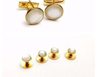 Vintage cufflinks/buttons set, Gold tone, white stone, Clearance sale, Item No. B498
