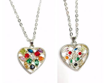 Vintage Heart Pendant/Necklace, multicolor CZ, silver plated, Clearance SALE, Item No. B646