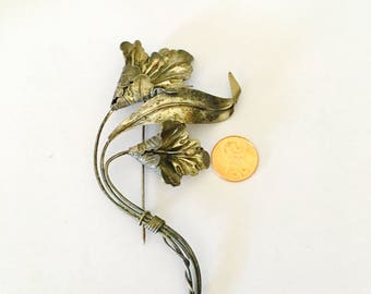 Large Flower Brooch, Antique Sterling Silver, Stamped, Elegant, Clearance SALE, Item No. S070