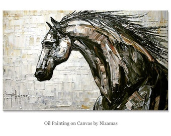 Horse oil painting on canvas - Free Spirit Oil Palette Knife Thick Paint Technique Original by Paula Size  black and white