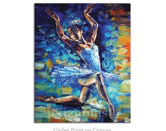Wall Art Ballerina Giclee PRINT on Canvas Gift Modern Home Decor ready to hang