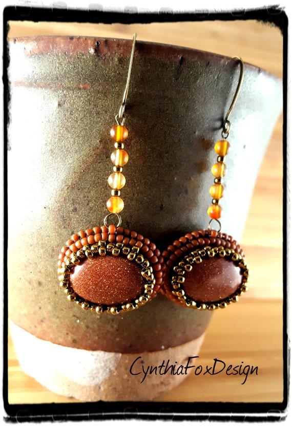 Goldstone and Carnelian Earrings, Burnt Orange Beaded Earrings, Foxxy Jewelry by CynthiaFoxDesign