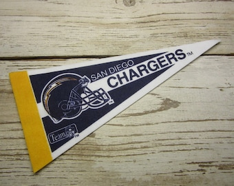 Vintage San Diego Chargers Football Team 1990s Era NFL Small 9 Inch Mini Felt Pennant Banner Flag vtg Collectible Vintage Display Sports