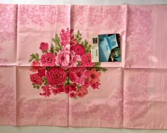 "Vintage 1960s Stevens Utica Cotton Percale Pink Floral ""Elegante"" Pillowcases Set of Two NEW"