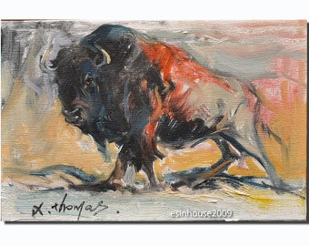 Western American bison cow portrait Original oil Painting  on canvas panel 12CMX18CM