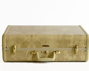vintage Samsonite suitcase with key marble beige 1940s 1950s travel luggage