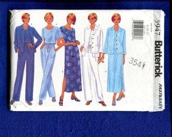 Butterick 5947 Summer Time Tee Shirt Dress Jacket & Pants Size 8..10..12 UNCUT