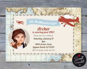 VINTAGE Airplane Invitation for Birthday Party - 5x7 Printable file. Print your own. Includes printable Swing Tag