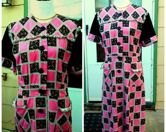 Vintage 1930s 30s Cotton House Day Dress Pink Black Checkered Novelty Print M Medium