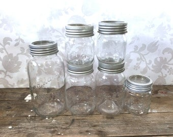 Mason Jar Canister Set of 6, Half Gallon, 2 Quarts and 3 pints, Pewter coloured metal rings and glass tops, GEM