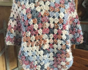 Multi-colored Vintage Looking Poncho