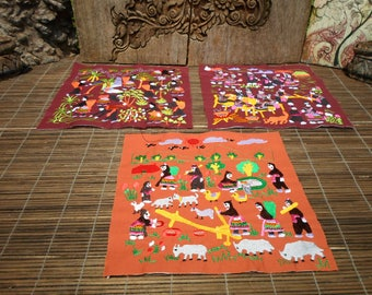 Hmong Village Embroidery, Machine Embroidered Textile, Set Of 3, Hmong Textile , Tribal Textile