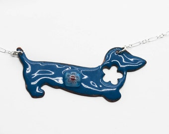 Peacock Blue Vitreous Enamel Doxie Necklace  RAWF Benefit