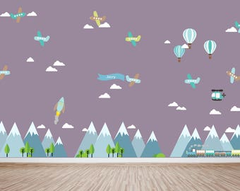 Mountain Decal, Mountain Scene Decal, Boys Plane Decal, Kids Wall Decalsm HUGE DECAL, Ecofriendly No Toxins No PVCs Decals, WDm471ha