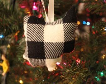 Ohio Ornament in White Buffalo Plaid | Free shipping :)