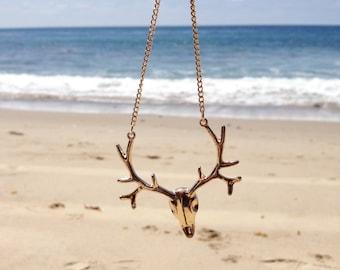 Gold Deer Necklace, Gold Deer Antler Necklace, Rustic Deer Necklace, Deer Charm, Deer Antler Necklace, Deer Skull Necklace, Badass Necklace