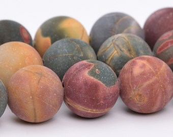 "8MM Matte Picasso Jasper Natural Gemstone Full Strand Round Loose Beads 15"" BULK LOT 1,3,5,10 and 50 (101086-315)"