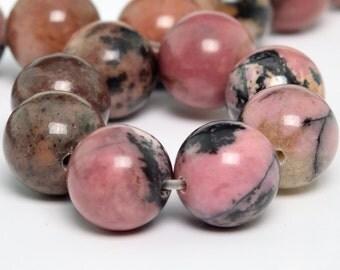 "6MM Rhodonite Beads Grade AAA Natural Gemstone Half Strand Round Loose Beads 7.5"" BULK LOT 1,3,5,10 and 50 (100065h-257)"