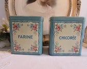 Vintage French country set of fabulous old storage tins / cannisters.