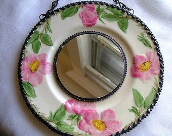 Stained Glass Mirror|Vintage Plate|Home Decor|Mirrors|Franciscan Earthenware|Desert Rose|Roses|Stained Glass|Handcrafted|Made in U