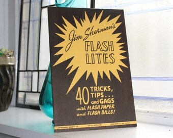 Vintage 1950 Magic Book Jim Sherman's Flash Lites 40 Tricks Tips and Gags with Flash Paper
