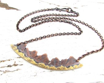 Mountain Necklace, Mountain Range Jewelry, Landscape Pendant, Mixed Metal Copper and Brass Pendant